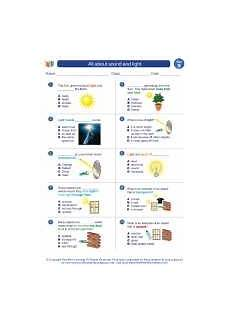 all about sound and light 2nd grade science worksheets and answer study guides and