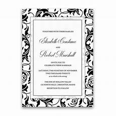 damask wedding invitations black and damask wedding invitations formal black and white