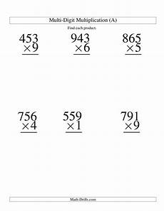 multiplication worksheets one digit by two digits 4536 multiplying three digit by one digit 6 per page a