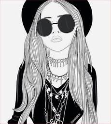 dessin en noir et blanc de fille