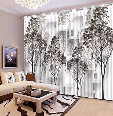 black and white tree blackout 3d curtain living room