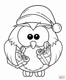 owl with gift boxes coloring page free