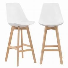 lot de 2 tabourets de bar scandinave blanc pieds en bois