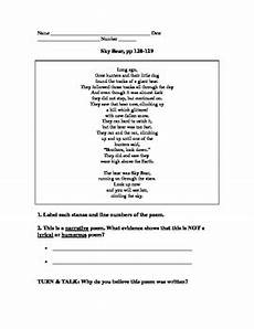 poetry comprehension worksheets with answers 25239 mmh treasures poem sky comprehension questions by voorhees