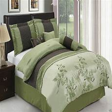 7pc pasadena green luxury bedding with pillows shams and queen king ebay