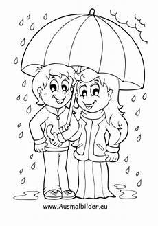 ausmalbild kinder mit regenschirm kostenlos ausdrucken