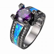 vintage purple jewelry ocean blue fire opal stone men engagement ring purple cz black gold