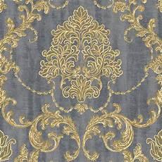 130304 Vliestapete Barock Ornament Gold Grau Metallic