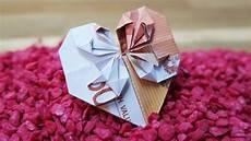 geld falten geldscheine falten herz origami geldgeschenk zur hochzeit