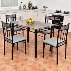 Walmart Kitchen Furniture Costway 5 Faux Marble Dining Set Table And 4 Chairs