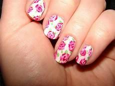 kawaii nail art vintage pink roses
