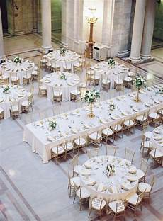 mixed round and rectangle gold and white wedding reception