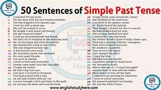 50 sentences of simple past tense english study here