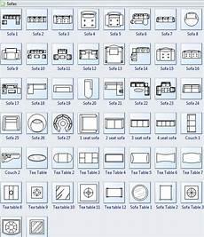 symbols for floor plan sofa