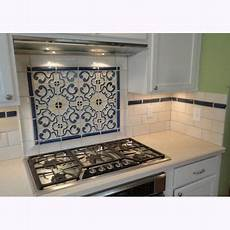 Backsplash Centerpiece by Custom Stoneware Tile Backsplash With Blue Gold