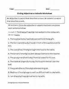 circling adjectives or adverbs worksheet part 1 beginner