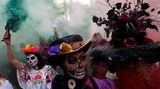 Day Of The Dead Parade Flares Sombreros And Skeleton