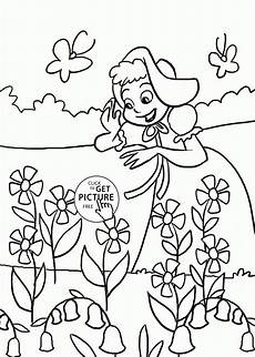 happy girl and spring flowers coloring page for kids seasons coloring pages printables free