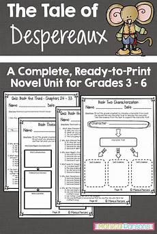 tale lesson 3rd grade 15011 tale of despereaux unit and novel study the tale of despereaux book study teachers pay