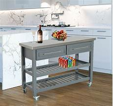 Kitchen Drawers Stainless Steel by Kitchen Rolling Trolley Cart Storage Stainless Steel Top W