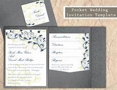 pocket wedding invitation template diy download