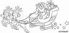Malvorlage Rentierschlitten Quot Weihnachtsmann Im Schlitten Mit Rentieren Vektor
