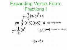 converting vertex to standard form with fractions youtube