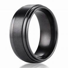 8mm benchmark black titanium men s wedding ring with step
