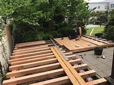 Bau Einer Holzterrasse Dachdeckerei Marske Aus