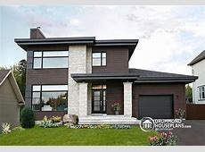 front Affordable Contemporary Modern home plan with family
