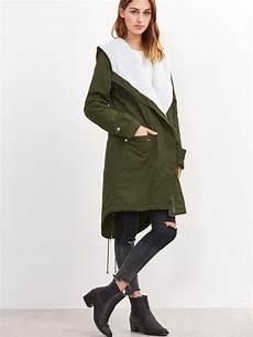 utility mantel mit kapuze vorne kurz hinten lang oliv