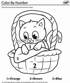 color by number cat coloring pages 18089 kitten in a basket color by number coloring page crayola