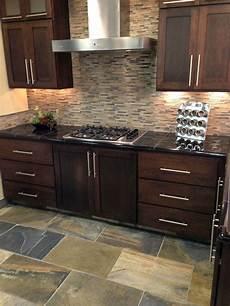 Mosaic Tiles Kitchen Backsplash Glass Mixed Mosaic Backsplash With Oversized Slate