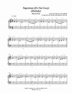 superman melody by five for fighting piano sheet music rookie level