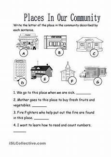places in our community worksheet free esl printable