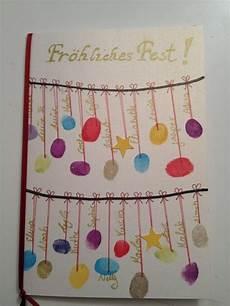 weihnachtskarte mit kindern basteln fingerabdruck