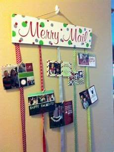 over the door ribbon christmas card holder no sticking to the wall via momendeavors com