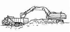 excavator loading work coloring pages print