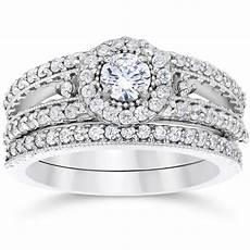 shop 14k white gold 1ct tdw vintage halo diamond engagement wedding ring sale free