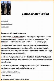 Lettre De Motivation Gendarmerie Modele De Cv Exemple