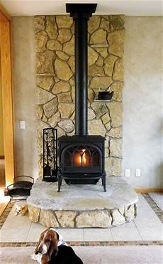 this stove uses buechel stone s glacier river rock for the back and risers and fond du lac
