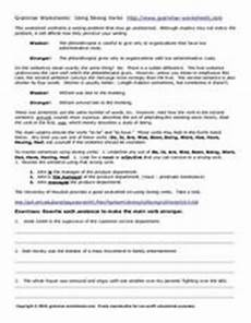 grammar worksheets using strong verbs worksheet for 7th 9th grade lesson planet