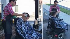 when man in wheelchair can t get into shop barber happily cuts his hair the sidewalk