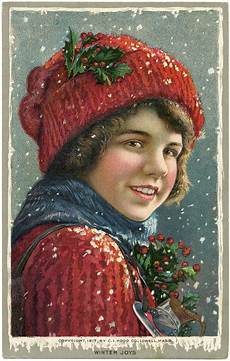 vintage image boy in snow the graphics