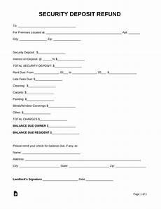 Rent Deposit Mn by Free Security Deposit Return Letter Pdf Word Eforms