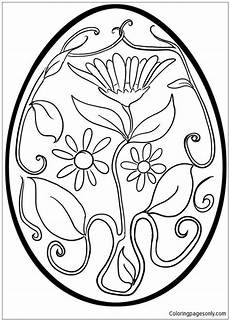 flower pattern easter egg coloring page free coloring