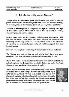 age of discovery worksheets the age of discovery exploration facts information worksheet