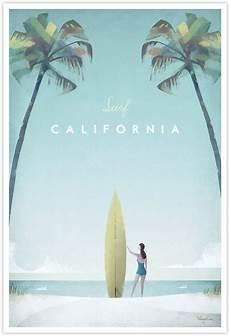 California Vintage Surf Poster Travel Poster Co