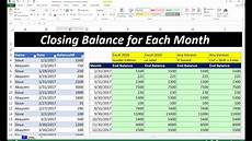212 how to make closing balance sheet for each month in ms excel hindi youtube