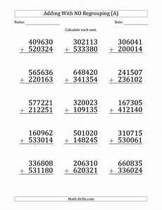 addition worksheets no regrouping 8971 large print 6 digit plus 6 digit addition with no regrouping a